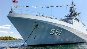 HTMS Krabi OPV 551 Royal Thai Navy ship anchors in Sydney harbor. SYDNEY, AUSTRALIA - OCTOBER 4,2013 :  HTMS Krabi OPV 551 Royal Thai Navy ship arrives Sydney Royalty Free Stock Images