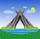 Hütte auf der Bank von Teich Lizenzfreie Stockfotografie