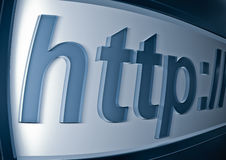 Http. Render of blue HTTP text URL closeup Stock Images