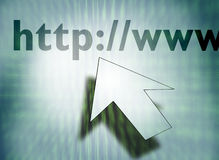 HTTP. Computer screen with http://www text and the mouse icon Stock Images