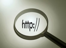 Http address bar. Magnifying glass with the word http address bar. Searching http address bar Royalty Free Stock Photography