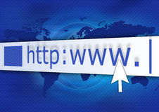 HTTP Blue. Address bar with cursor on abstract background stock illustration