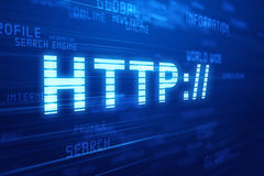 Http blue background concept. Stock Photo