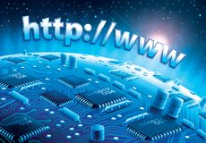 Http circuit world. 3D digital illustration of planet made of circuits with http://www text above stock illustration