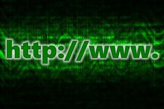 HTTP computer background with binary code. The website address on a digital background. Background of green color with the going waves vector illustration