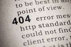 Http 404 error. Fake Dictionary, Dictionary definition of the word 404 royalty free stock image
