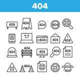 404 HTTP Error Message Vector Linear Icons Set royalty free stock photos