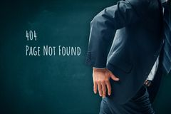 Http 404 error page. Http 404 error not found page template concept. Error page 404 message and businessperson leaving page royalty free stock photography