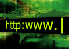 HTTP Green. Address bar on abstract green background Stock Illustration