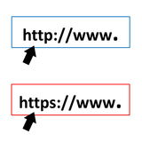 Http and https. Black arrows pointing to http or https symbols in white background Stock Photos