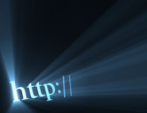 Http hyper link sign light flare. Http:// symbol (for indicating website url or internet homepage address) with powerful blue light halo. Extended flares for vector illustration
