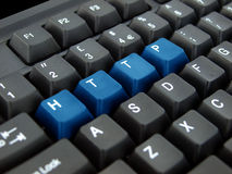 HTTP Keyboard. Black keyboard with HTTP keys highlighted in blue Stock Image