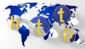 HTTP nad mapą świat Obraz Stock