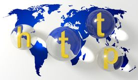 HTTP over een kaart van de wereld royalty-vrije illustratie