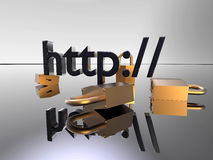 Http secure. 3d illustration of several golden locks around an HTTP address Royalty Free Stock Photos
