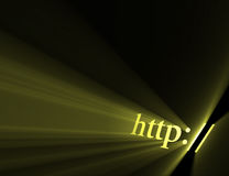 Http hyper link sign light flare. Http:// symbol indicating website url or internet homepage address with powerful sun light halo. Extended flares for cropping Stock Photography