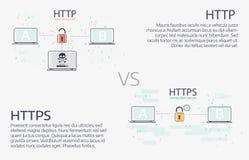 HTTP versus https Het vector dunne ontwerp van de lijnillustratie Stock Fotografie