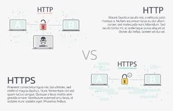 Http vs https Wektor kreskowej ilustraci cienki projekt Fotografia Stock