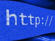 Http web search perspective effect icon on blue background. Royalty Free Stock Images