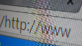 Http www address bar. Close up of mouse cursor typing in web browser address bar stock video footage