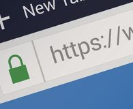 Close-up of HTTPS in Web Browser stock illustration