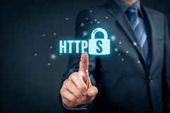 HTTPS concept. HTTPS - secured internet concept. Businessman or programmer click on https text and padlock symbol vector illustration