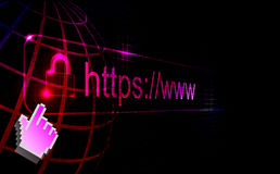 Https protected web page. On black background Stock Photo