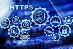 Https Protocole de transport d'hypertexte s?r Concept de technologie sur le fond de pi?ce de serveur Ic?ne virtuelle pour le r?se illustration de vecteur