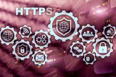 Https Protocolo de transporte do hipertexto seguro Conceito da tecnologia no fundo da sala do servidor ?cone virtual para a rede ilustração stock