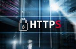 HTTPS, protocolo seguro de la transferencia de datos usado en el World Wide Web fotografía de archivo libre de regalías