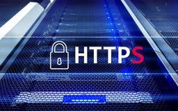 HTTPS, protocolo seguro de la transferencia de datos usado en el World Wide Web foto de archivo
