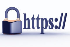 HTTPS secure connection sign in browser address. Stock Images