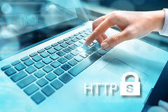 HTTPS - security in the internet concept Closeup of businesswoma Royalty Free Stock Image