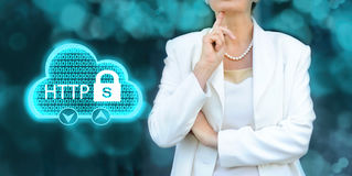 HTTPS - security in the internet concept. Senior businesswoman s Stock Images