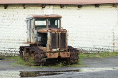 HTZ T-74 old rusty tractor Royalty Free Stock Photo