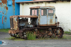 HTZ T-74 old rusty tractor Stock Photo