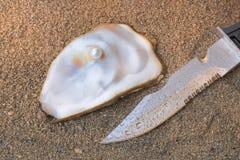 Huître et couteau de perle photo stock