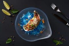 Huître tartare Délicatesse de poissons sur la glace bleue Belle portion des fruits de mer sur un fond noir photo libre de droits