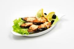 Huîtres cuites au four, nourriture délicieuse photo stock