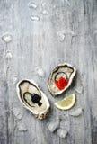 Huîtres ouvertes avec les saumons rouges et le caviar et le citron noirs d'esturgeon sur la glace sur le fond concret gris image libre de droits