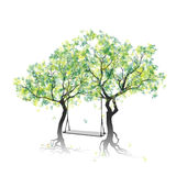 Huśtawka między drzewami Zdjęcie Royalty Free