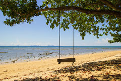 Huśtawka pod drzewem na piasek plaży blisko morze fotografia stock