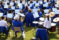 Huśtawkowy zespół w niebieskich marynarkach bawić się outdoors Zdjęcie Stock