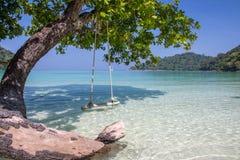 Huśtawka i drzewo obok brzeg z jasnym niebieskim niebem zdjęcie royalty free