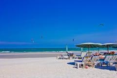 Hua hin beach. A beach is beautiful, the green sea, the sky is blue Stock Image