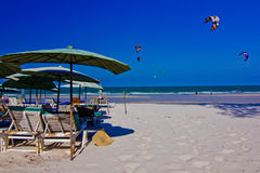 Hua hin beach. A beach is beautiful, the green sea, the sky is blue Royalty Free Stock Images