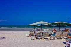 Hua hin beach. A beach is beautiful, the green sea, the sky is blue Royalty Free Stock Photo