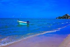 Hua hin beach. A beach is beautiful, the green sea, the sky is blue, the fishing boat Stock Photos