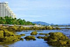 Hua hin beach. A beach is beautiful,   a sea green water,   the sky is blue,            a cloud  white Royalty Free Stock Photos