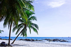 Hua hin beach. A beach is beautiful,   a sea green water,   the sky is blue,             a cloud  white Stock Images